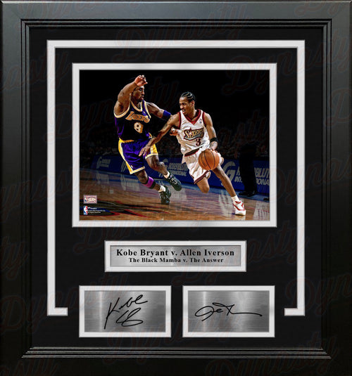 "Kobe Bryant v. Allen Iverson 8"" x 10"" Framed Basketball Photo with Engraved Autographs - Dynasty Sports & Framing"