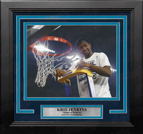 Kris Jenkins Villanova Wildcats 2016 NCAA Champions Cutting the Net Autographed 8x10 Framed Photo - Dynasty Sports & Framing