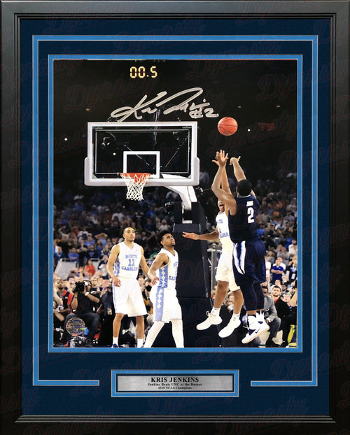 Kris Jenkins Villanova Wildcats 2016 NCAA Champions Buzzer Beater Autographed Vertical Framed Photo - Dynasty Sports & Framing