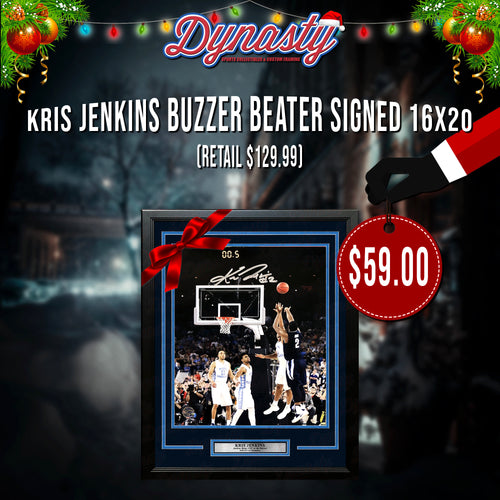 "Kris Jenkins Villanova Wildcats 2016 NCAA Champions Buzzer Beater Autographed 16"" x 20"" Vertical Framed Photo (Black Friday Doorbuster) - Dynasty Sports & Framing"
