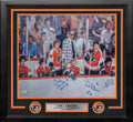 "LCB Line on the Bench Philadelphia Flyers Autographed 16"" x 20"" Framed Hockey Photo - Dynasty Sports & Framing"