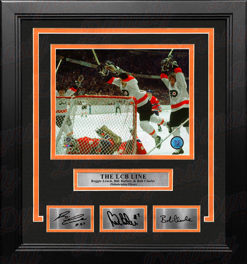 LCB Line (Bob Clarke, Bill Barber, Reggie Leach) Flyers 11x14 Framed Photo with Engraved Autographs - Dynasty Sports & Framing