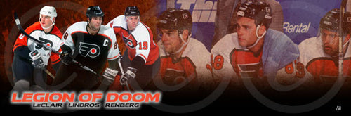 Legion of Doom (John LeClair, Eric Lindros, Mikael Renberg) Philadelphia Flyers Hockey Panorama - Dynasty Sports & Framing