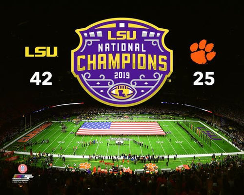 "LSU Tigers 2019 National Champions Stadium & Score 8"" x 10"" College Football Photo - Dynasty Sports & Framing"