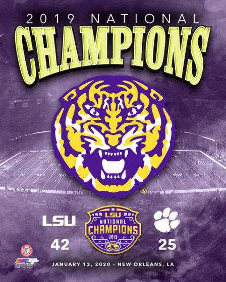 "LSU Tigers 2019 National Champions Logo & Score 8"" x 10"" College Football Photo - Dynasty Sports & Framing"