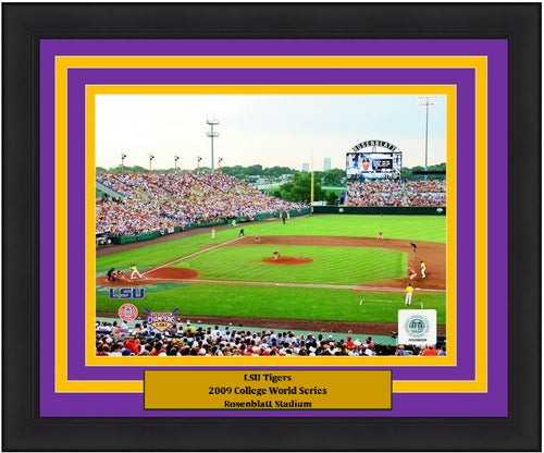 "LSU Tigers 2009 College World Series at Rosenblatt Stadium NCAA College Baseball Stadium 8"" x 10"" Framed and Matted Photo - Dynasty Sports & Framing"