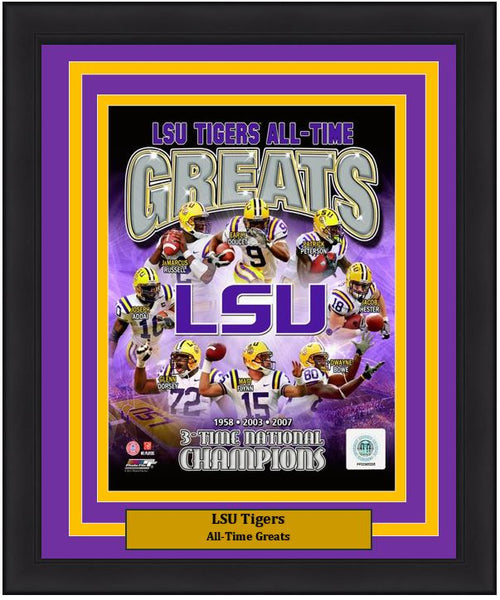 "LSU Tigers All-Time Greats NCAA College Football 8"" x 10"" Framed and Matted Photo"