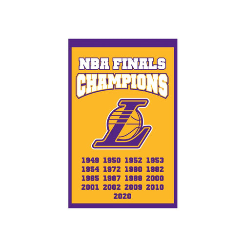 "Los Angeles Lakers 2020 NBA Champions 14"" x 22"" Banner - Dynasty Sports & Framing"
