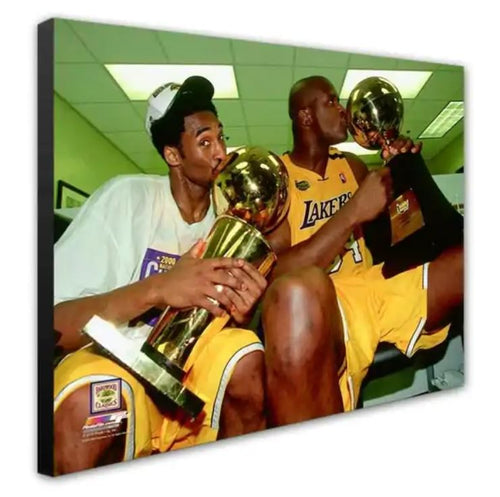 Kobe Bryant & Shaquille O'Neal Los Angeles Lakers 2000 NBA Champions 16x20 Basketball Canvas Print - Dynasty Sports & Framing