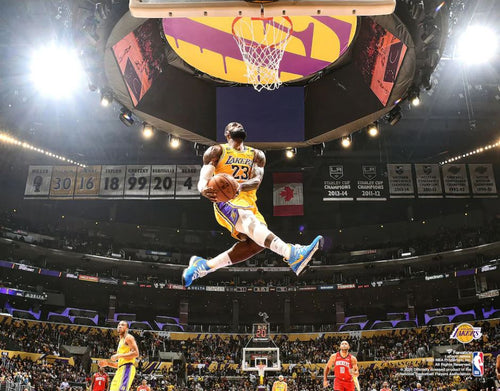 "LeBron James Aerial Dunk Los Angeles Lakers 8"" x 10"" Basketball Photo - Dynasty Sports & Framing"