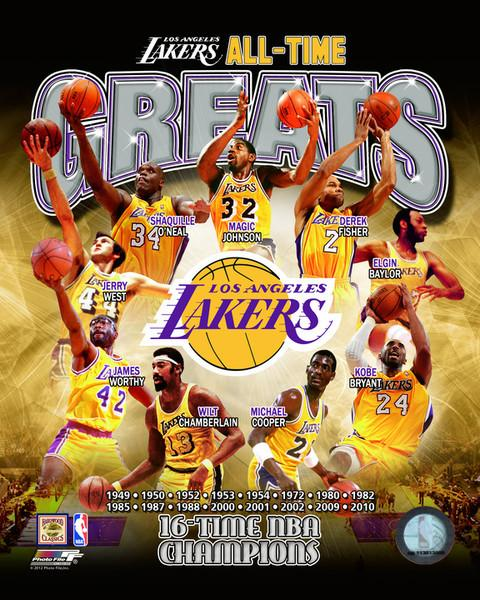 "Los Angeles Lakers All-Time Greats NBA Basketball 8"" x 10"" Photo"