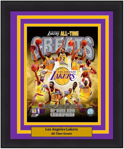 "Los Angeles Lakers All-Time Greats NBA Basketball 8"" x 10"" Framed and Matted Photo"