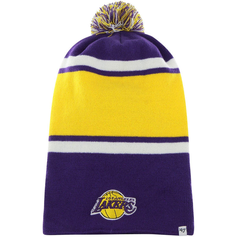 Los Angeles Lakers NBA 47 Brand Dead Ringer Knit Hat - Purple/Gold - Dynasty Sports & Framing