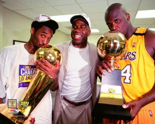 "Kobe Bryant, Magic Johnson, & Shaquille O'Neal Los Angeles Lakers 8"" x 10"" Basketball Photo - Dynasty Sports & Framing"