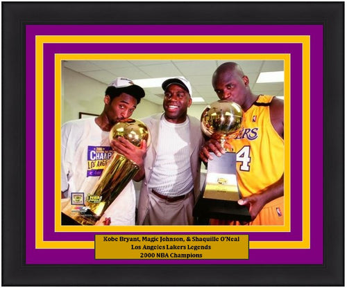 "Kobe Bryant, Magic Johnson, & Shaquille O'Neal Los Angeles Lakers 8"" x 10"" Framed Basketball Photo - Dynasty Sports & Framing"