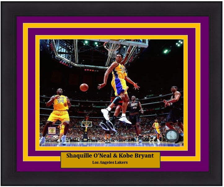 "Los Angeles Lakers Kobe Bryant & Shaquille O'Neal NBA Basketball 8"" x 10"" Framed and Matted Photo"