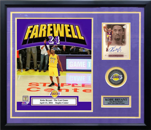 Kobe Bryant Final Game Photo with Autographed Card Los Angeles Lakers Framed and Matted Collage - Dynasty Sports & Framing