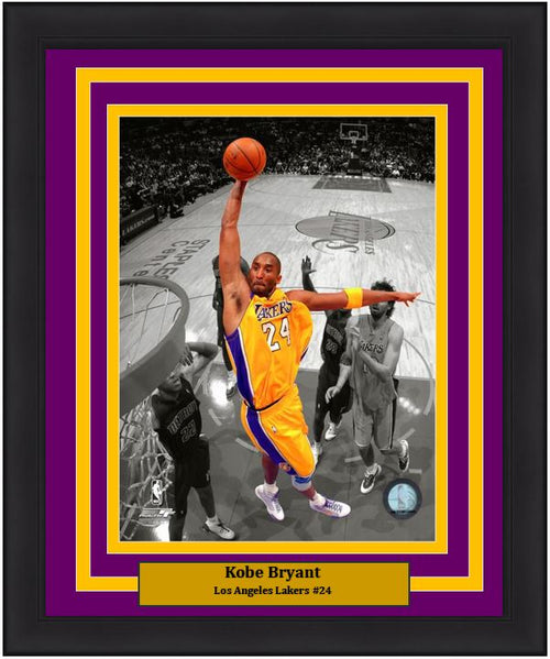 "Kobe Bryant Los Angeles Lakers Spotlight Slam Dunk NBA Basketball 8"" x 10"" Framed and Matted Photo - Dynasty Sports & Framing"