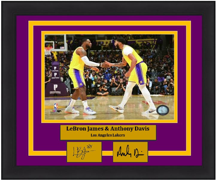 "LeBron James & Anthony Davis Los Angeles Lakers Celebration NBA Basketball 8"" x 10"" Framed Photo with Engraved Autographs - Dynasty Sports & Framing"