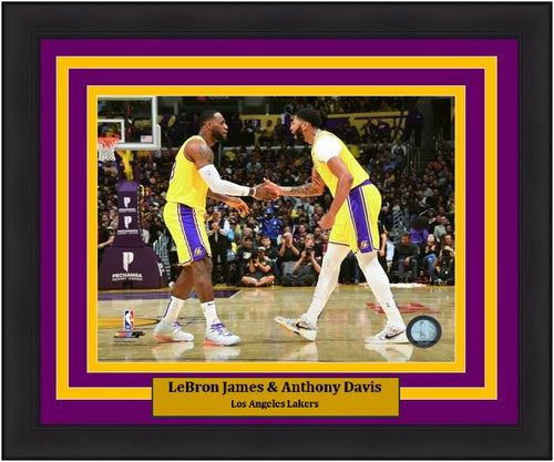 "LeBron James & Anthony Davis Los Angeles Lakers Celebration NBA Basketball 8"" x 10"" Framed Photo - Dynasty Sports & Framing"