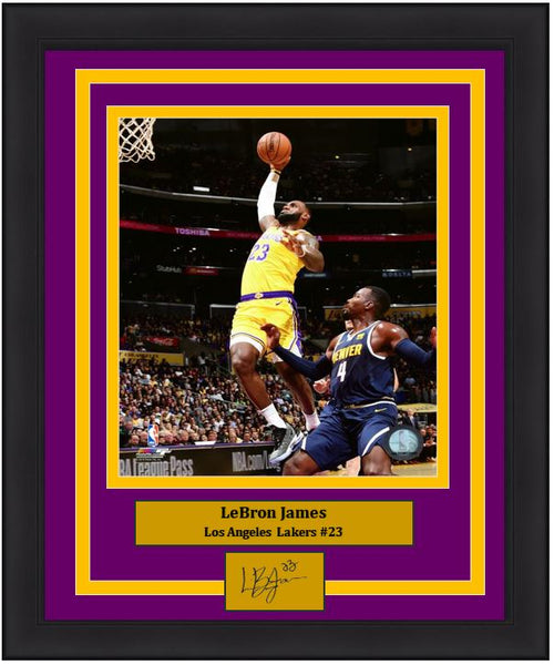 "Los Angeles Lakers LeBron James Engraved Autograph NBA Basketball 8"" x 10"" Framed & Matted Photo (Dynasty Signature Collection) - Dynasty Sports & Framing"