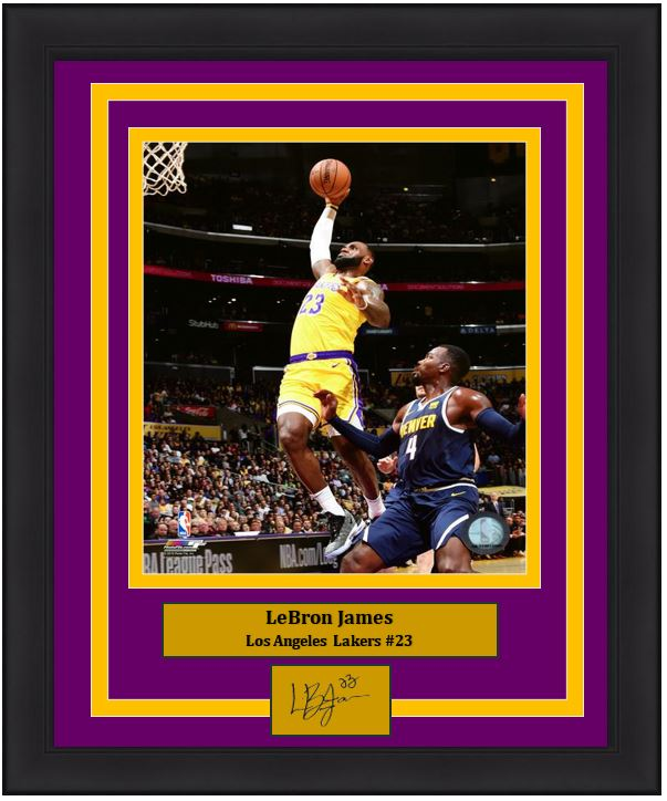"Los Angeles Lakers LeBron James Engraved Autograph NBA Basketball 8"" x 10"" Framed & Matted Photo (Dynasty Signature Collection)"