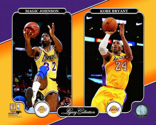 "Magic Johnson & Kobe Bryant Los Angeles Lakers NBA Basketball 8"" x 10"" Legacy Photo"