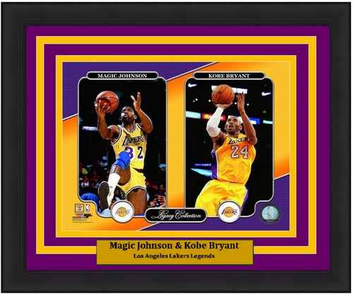"Magic Johnson & Kobe Bryant Los Angeles Lakers NBA Basketball 8"" x 10"" Framed and Matted Legacy Photo"