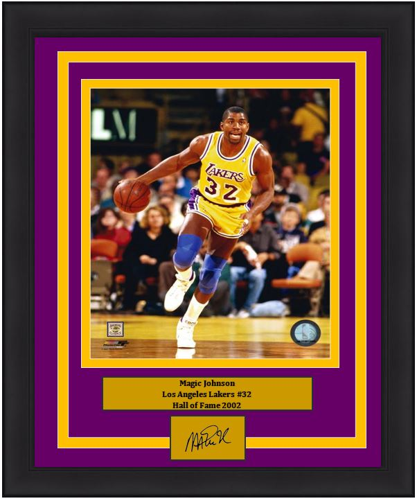 "Magic Johnson Los Angeles Lakers NBA Basketball 8"" x 10"" Framed and Matted Photo with Engraved Autograph - Dynasty Sports & Framing"