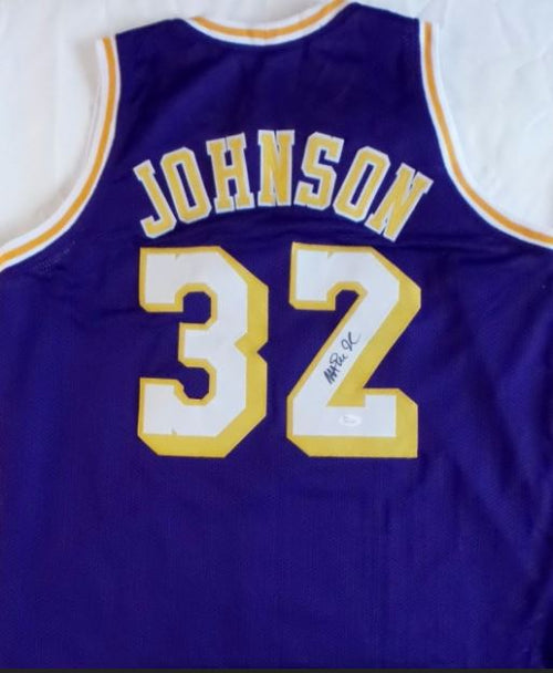 "Los Angeles Lakers Earvin ""Magic"" Johnson Autographed NBA Basketball Swingman Pro-Style Jersey - Dynasty Sports & Framing"