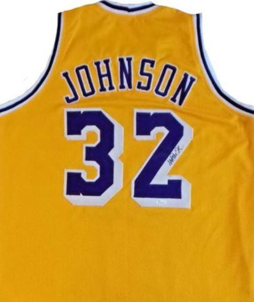 "Los Angeles Lakers Earvin ""Magic"" Johnson Autographed NBA Basketball Swingman Pro-Style Jersey (Yellow)"
