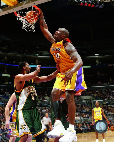 "Shaquille O'Neal Slam Dunk Los Angeles Lakers NBA Basketball 8"" x 10"" Photo"