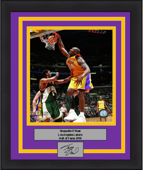 "Shaquille O'Neal Slam Dunk Los Angeles Lakers NBA Basketball 8"" x 10"" Framed and Matted Photo with Engraved Autograph"