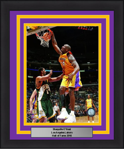 "Shaquille O'Neal Slam Dunk Los Angeles Lakers NBA Basketball 8"" x 10"" Framed and Matted Photo"