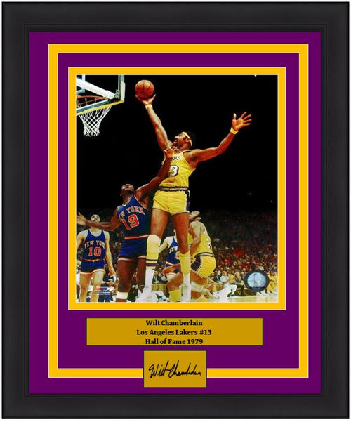 "Wilt Chamberlain Los Angeles Lakers Engraved Autograph NBA Basketball 8"" x 10"" Framed and Matted Photo"