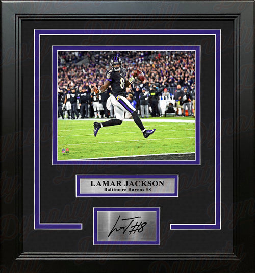 Lamar Jackson High-Stepping Touchdown Baltimore Ravens 8x10 Framed Photo with Engraved Autograph - Dynasty Sports & Framing