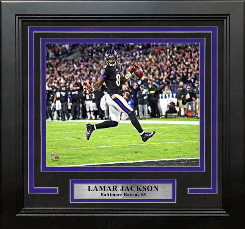 "Lamar Jackson High-Stepping Touchdown Baltimore Ravens 8"" x 10"" Framed Football Photo - Dynasty Sports & Framing"