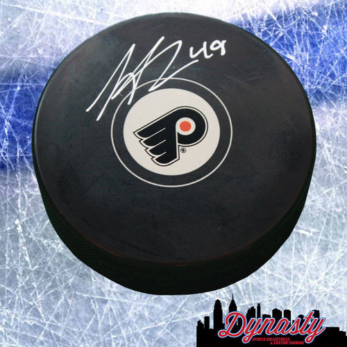 Philadelphia Flyers Scott Laughton Autographed NHL Hockey Logo Puck - Dynasty Sports & Framing