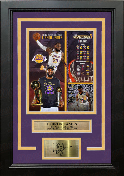 LeBron James 2020 NBA Champions LA Lakers 8x10 Framed Collage Photo with Engraved Autograph - Dynasty Sports & Framing