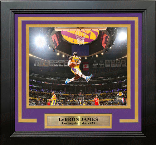 "LeBron James Aerial Dunk Los Angeles Lakers 8"" x 10"" Framed Basketball Photo - Dynasty Sports & Framing"