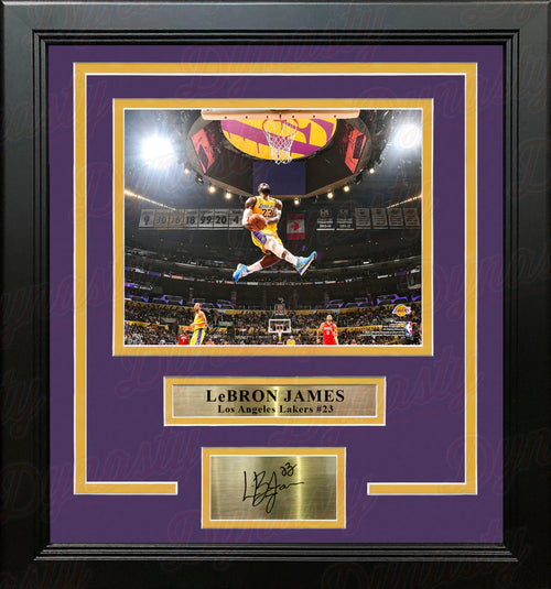 "LeBron James Aerial Dunk Los Angeles Lakers 8"" x 10"" Framed Basketball Photo with Engraved Autograph - Dynasty Sports & Framing"