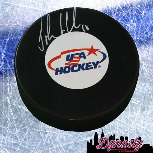 Olympics Team USA John LeClair Autographed Hockey Logo Puck - Dynasty Sports & Framing