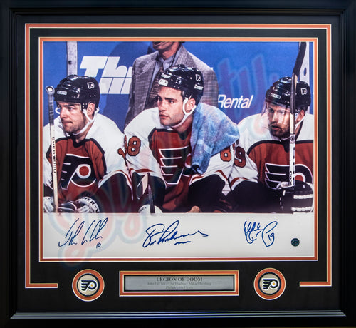 Philadelphia Flyers Legion of Doom Watching from the Bench Autographed NHL Hockey Framed and Matted Photo (Lindros, LeClair, Renberg) - Dynasty Sports & Framing