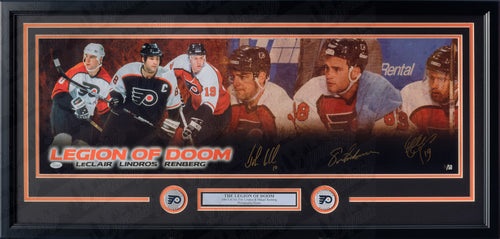 Philadelphia Flyers Legion of Doom Autographed NHL Hockey Framed and Matted Panorama Limited to 50 (Lindros, LeClair, Renberg)