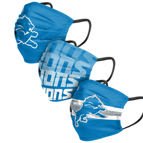 Detroit Lions 3-Pack Match Day Face Mask Covers - Dynasty Sports & Framing