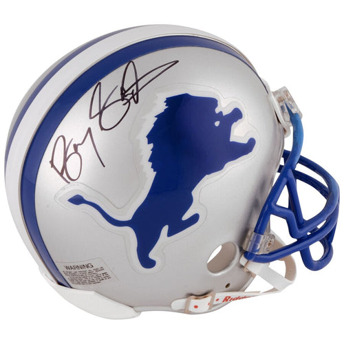 Barry Sanders Detroit Lions Autographed NFL Football Throwback Mini-Helmet