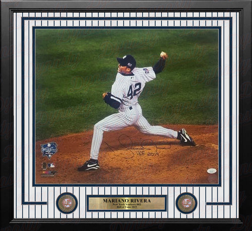 Mariano Rivera Action Autographed New York Yankees 16x20 Framed Photo with Hall of Fame Inscription