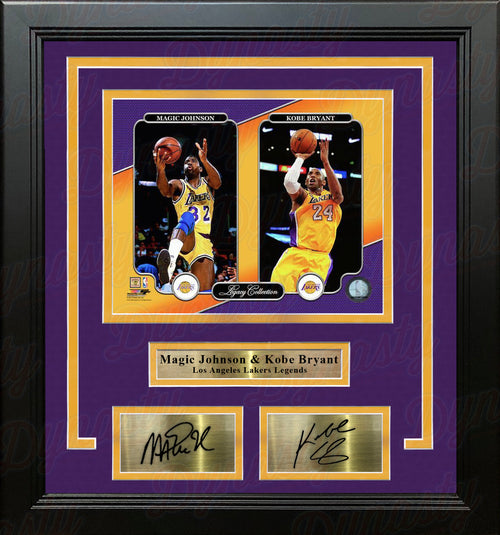 "Magic Johnson & Kobe Bryant Los Angeles Lakers 8"" x 10"" Framed Legacy Photo with Engraved Autographs - Dynasty Sports & Framing"