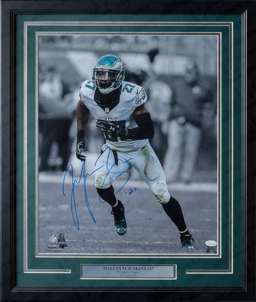 Philadelphia Eagles Malcolm Jenkins Spotlight Autographed NFL Football Framed and Matted Photo