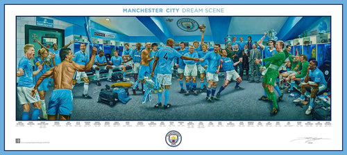 Manchester City FC Exclusive Dream Scene Lithograph Artwork Print by Artist Jamie Cooper - Dynasty Sports & Framing